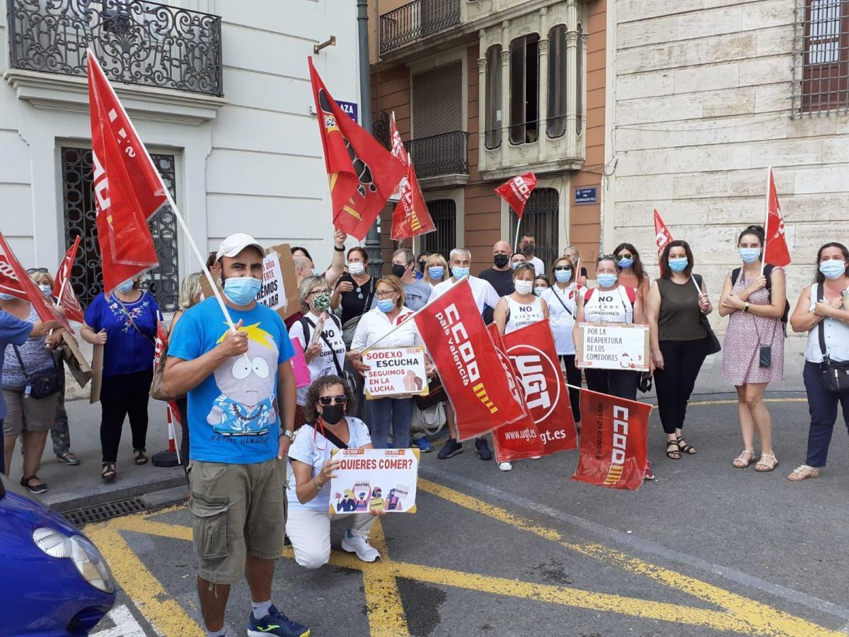Concentració dels treballadors i de les treballadores de Sodexo, el passat dia 3 de setembre